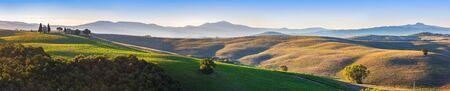 san quirico: Tuscany landscape panorama at sunrise with a chapel of Madonna di Vitaleta, San Quirico dOrcia, Italy. Vintage