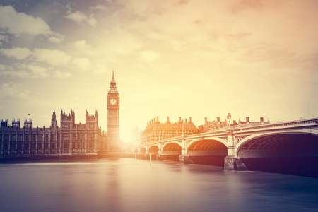 british weather: Big Ben, Westminster Bridge on River Thames in London, the UK. English symbol. Vintage, retro style