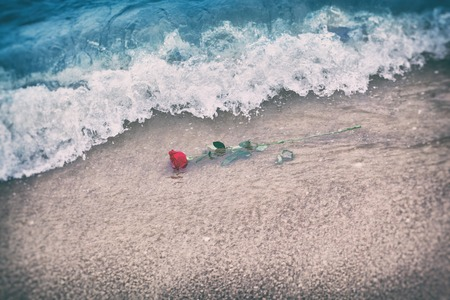 Waves washing away a red rose from the beach. Concept of romantic love, romance, but may also symbolize a loss, melancholy, memory of the past etc. Vintage Stock Photo