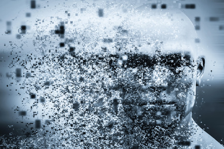 disintegration: Man face with pixel dispersion effect. Concept of technology, modern science but also disintegration of mind etc. 3D rendering