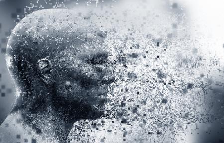 la cara del hombre con efecto de dispersión de píxeles. Concepto de la tecnología, la ciencia moderna, sino también la desintegración de la mente de renderizado 3D, etc.
