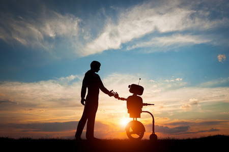 Man and robot meet and handshake. Concept of the future interaction with artificial intelligence. 3D rendering.