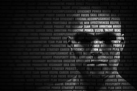 Fronte dell'uomo mescolato con la lista di parole motivazionali che scorre. Concetto di motivazione di sé, la pianificazione futura, intelligenza. il rendering 3D