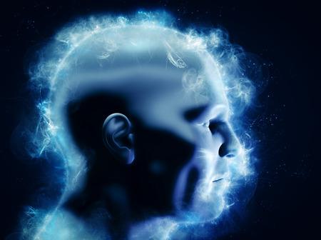 Eso sí, el poder del cerebro y la energía, el concepto de la imaginación. Representación 3D de la cabeza humana. También puede simbolizar una lluvia de ideas, la mentalidad, idea, etc. Foto de archivo - 59181844