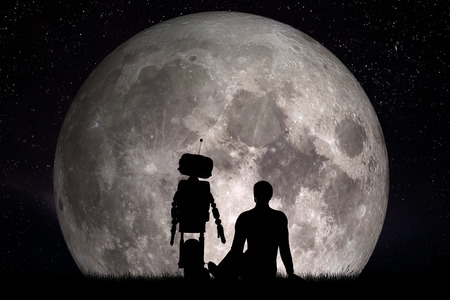 Man and his robot friend looking on moon. Future technology concept, artificial intelligence. 3D rendering. Elements of this image furnished