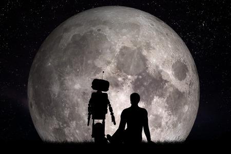 Man en zijn robotvriend kijken naar de maan. Toekomstig technologisch concept, kunstmatige intelligentie. 3D-weergave. Elementen van deze afbeelding ingericht