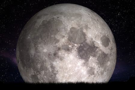 Full moon at night. Grass in the foreground. Perfect for background, copy-space. Elements of this image furnished 写真素材