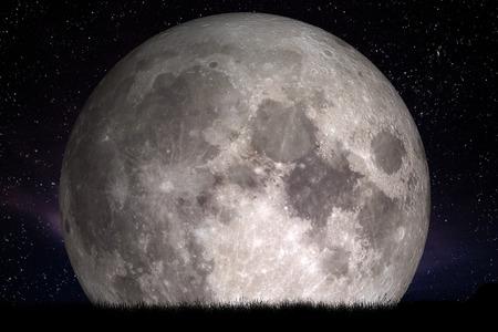 Pełnia księżyca w nocy. Trawy na pierwszym planie. Idealne na tle, kopia przestrzeń. Elementy tego zdjęcia dostarczone
