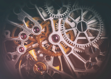 mechanism: Mechanism, clockwork of a watch with jewels, close-up. Vintage luxury background. Time, work concept. Stock Photo