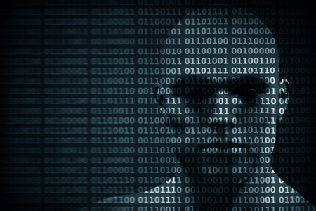 Man face blended with binary code digits. Concept of hacker, coding, programming, data protection etc. Archivio Fotografico