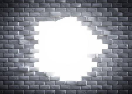 destructed: Light coming through a hole in a brick wall. Concept of new better world, hope, break the stumbling block, 3D rendering