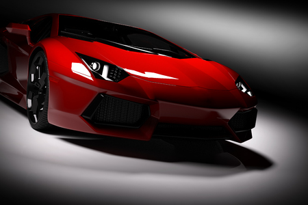 Red fast sports car in spotlight, black background. Shiny, new, luxurious. 3D rendering Foto de archivo