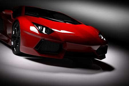 Rode snelle sportwagen in de schijnwerpers, zwarte achtergrond. Glanzend, nieuw, luxuus. 3D-rendering