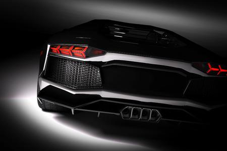 Black snelle sportwagen in de schijnwerpers, zwarte achtergrond. Glanzend, nieuw, luxuus. 3D-rendering