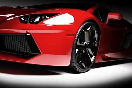 Red schnellen Sportwagen im Scheinwerfer, schwarzer Hintergrund. Glänzend, neu, luxuus. 3D-Rendering