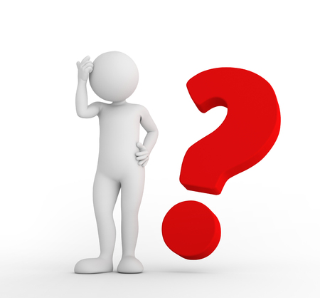 Red big question mark and toon man thinking. FAQ, ask, search concepts. 3D illustration