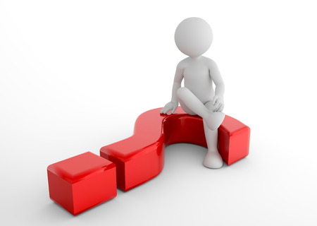 uomo seduto su Toon 3d punto interrogativo. Domande, chiedere, i concetti di ricerca. illustrazione 3D Archivio Fotografico