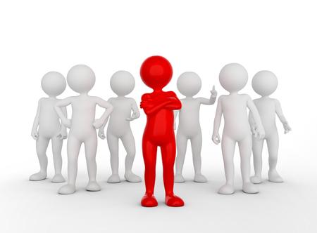 Confiants concept de chef d'équipe. homme Toon avec son armée de personnes. illustration 3D Banque d'images