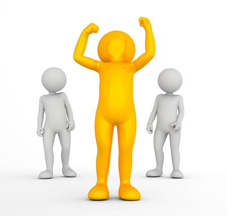 toon: Winner of the competition concept. Golden toon man with raised hands in front of two grey men. 3d illustration Stock Photo