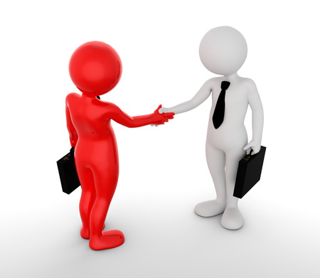 small people: Business handshake. Ton man shaking hands. Deal, agreement, partner concept. 3D illustration Stock Photo