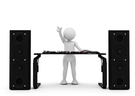 man: Toon man DJ spinning music on mixer. White background. 3D illustration.