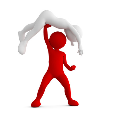 raise hand: Red toon man beating his competitor. Conceptual 3d illustration