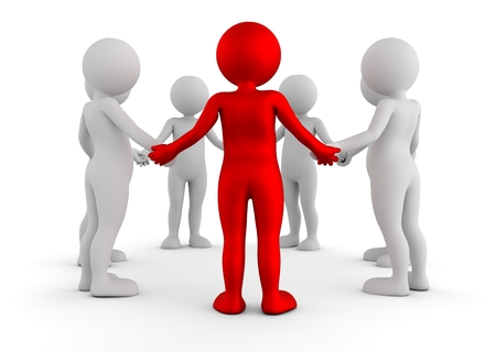 Toon men holding hands in a circle. Support group, teamwork, social connection, business leader concept. 3D illustration