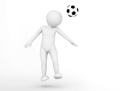 toon: Toon man soccer player heading the ball. Football concept. White background. 3D illustration