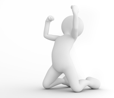 thrilled: Toon man celebrating victory. Win, winner concept. White background. 3D illustration