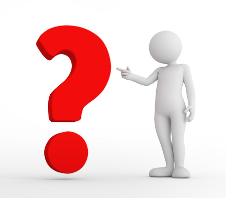 questionmark: Toon man pointing at red big question mark. FAQ, ask, search concepts. 3D illustration