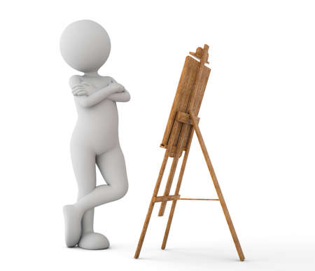 toon: Toon man painter looking at the image on the easel. White background. 3D illustration Stock Photo