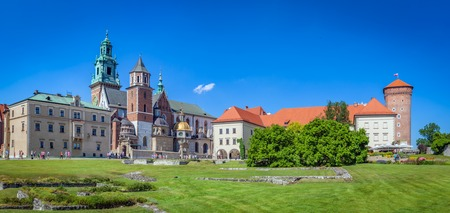 polska monument: Wawel, royal castle and cathedral in Cracow, Poland. Panorama view from inside of the castle. Editorial