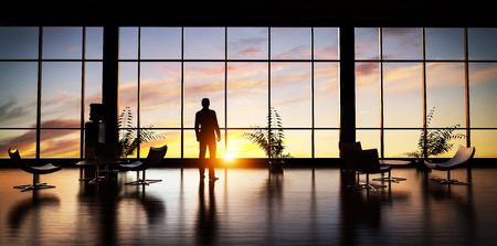 man looking out: Business man standing in the office looking out of the window at sunset sky. 3D illustration