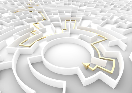 difficult task: Gold arrow going through maze showing a solution. Concepts of problem solving, challenge, business strategy etc. 3D illustration