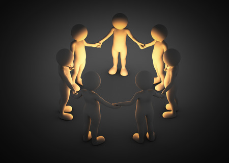 linked hands: Toon men holding hands in a circle. Light shining. Brainstorm, teamwork, connection concept. 3D illustration Stock Photo