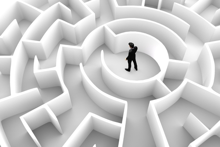 solve a problem: Businessman in the middle of the maze. Concepts of finding a solution, problem solving, challenge etc. 3D illustration