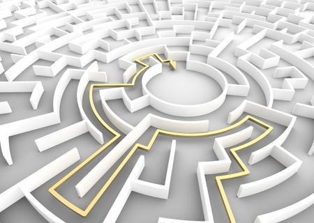 escape route: Gold arrow going through maze showing a solution. Concepts of problem solving, challenge, business strategy etc. 3D illustration