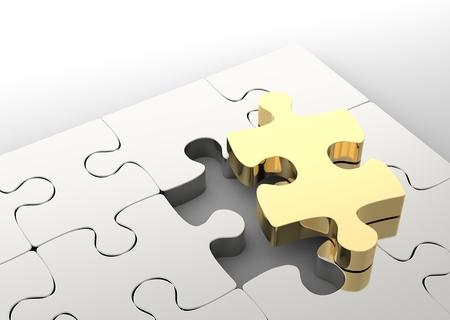 Last golden puzzle piece to complete a jigsaw. Concept of business solution, solving a problem. 3D illustration Stock Photo