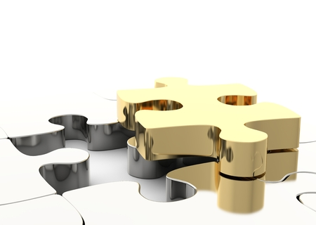 solving: Last golden puzzle piece to complete a jigsaw. Concept of business solution, solving a problem. 3D illustration Stock Photo