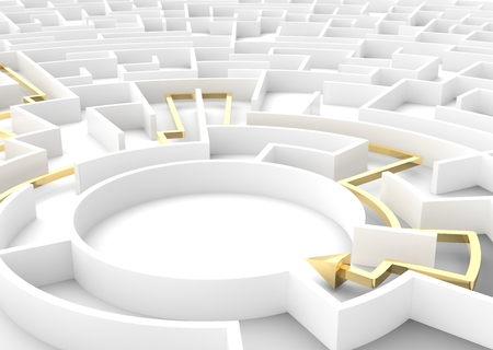 problem solution: Gold arrow going through maze showing a solution. Concepts of problem solving, challenge, business strategy etc. 3D illustration
