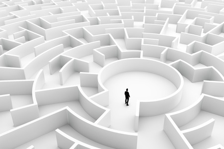 escape route: Businessman in the middle of the maze. Concepts of finding a solution, problem solving, challenge etc. 3D illustration