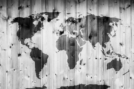 wood planks: World map on wooden wall. Retro wood planks. Vintage