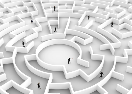 difficult task: Business people competition - finding a solution of the maze., one winner. Concepts of rat race, success, challenge etc. 3D illustration