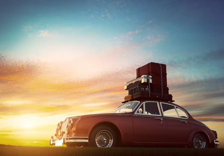 unplug: Retro red car with luggage on roof rack at sunset. Travel, vacation concepts. 3D illustration