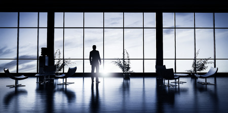 Business man standing in the office looking out of the window at sunset sky. 3D illustration
