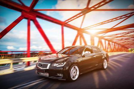 voiture moderne berline métallique noire sur la route du pont. desing générique, brandless. rendu 3D.
