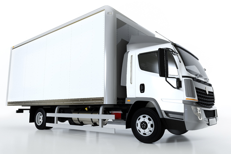 Commercial cargo delivery truck with blank white trailer. Isolated, generic, brandless vehicle design. 3D rendering Stock Photo