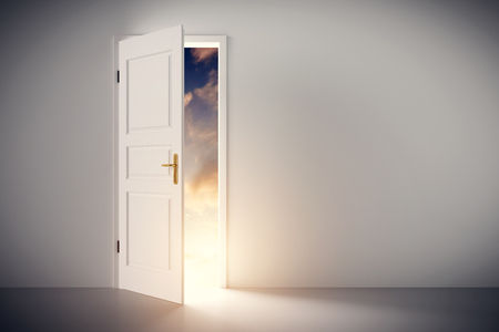 Sun shining through half open classic white door. Concepts of new life, hope, religion etc. 3D illustration