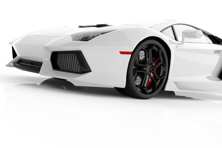 White metallic fast sports car on white background studio. Shiny, new, luxurious. 3D rendering Imagens