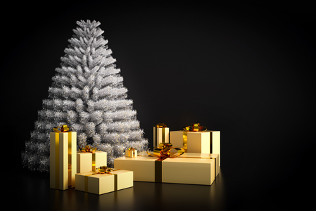 traditional silver wallpaper: Shining modern Christmas tree and presents on black background. Copy-space for the wishes to the right. 3D illustration Stock Photo